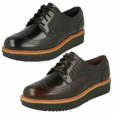 Ladies Clarks Casual Lace Up Fastening Leather Brogue Style Shoes Teadale Maira