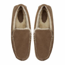 Ruby and Ed Mens Chocolate Suede Moccasin Low Top Slippers