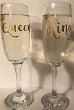 Pair of King & Queen - Crown Champagne Flutes or Personalised
