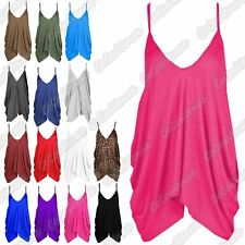 New Ladies V Neck Lagenlook Plain Romper Baggy Loose Fit Strappy Cami Vest Top