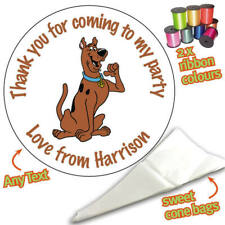 24 Personalised Scooby Doo DIY Sweet Cone Ribbon Party Bags Kit Stickers 096