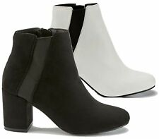 Womens Ladies Chunky Block High Heel Shoes Chelsea Ankle Boots Shoes