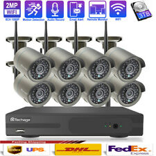 Techage 8CH Wireless NVR 2.0MP 1080P Wifi IP Camera CCTV Security System+2TB HDD