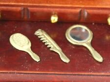 Doll House Miniature 1/12th Scale Brush Comb and Mirror Set - Silver or Gold