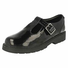 Girls Bootleg by Clarks Buckle Fastening T-Bar Leather School Shoes 'Purley Go'
