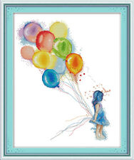Little Girl With Balloons Cross Stitch Kit | Choice of CT | Printed or Counted