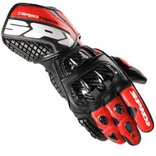 Spidi Carbo Biellette Moto Racing Sport Gants Cuir - Noir/Rouge
