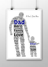 Personalised Word Art Father's Day Dad Daddy Daughter Son Print Birthday Gift