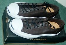 CONVERSE Men Jack Purcell Leather OX Brown WHITE UNISEX Ladies TRAINERS Shoes 6