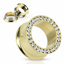 Lusso Double Flared Oro Tunnel 4-25mm Zirconi Nuovo Piercing di Coolbody
