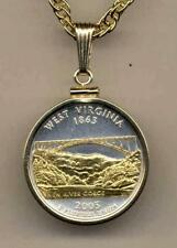"""2005 West Virginia State Quarter 24k Gold on Silver 18"""" or 24"""" Coin Necklace #2"""