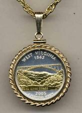 """2005 West Virginia State Quarter 24k Gold on Silver 18"""" or 24"""" Coin Necklace"""
