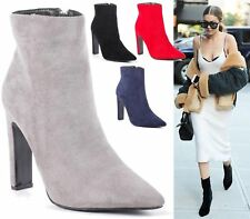 Womens Ladies Faux Suede High Heel Ankle Boots Pointed Toe Stiletto Shoes 3-8
