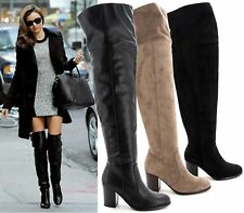 New Womens Over The Knee Block Mid Heel Ladies Fold Collar Over Thigh High Boots