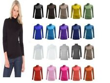 Ladies Long Sleeves Polo Neck Stretch Top Turtle Neck Jumper Plus Sizes 8-26