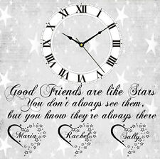 Personalizzato Orologio Best Friends Are Like Stars Idea Regalo Compleanno Casa