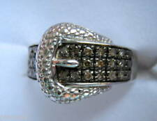 0.25ct Ct Champagne Marrone Colore Diamante Fibbia Anello Argento Sterling