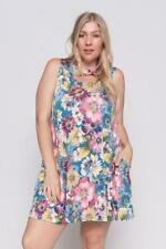 Plus Size Floral Sleeveless Cutout Neckline Dress