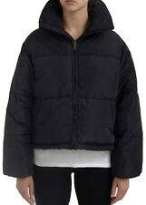 Women's High Collar Puffer Quilted Padded Bomber Jacket Parka Coat Black