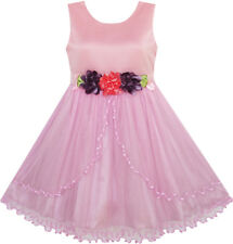 Flower Girl Dress Pageant Wedding Party Tulle Overlay Age 4-10 Years Formal
