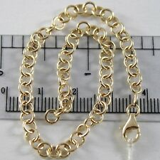 BRACELET OR JAUNE OU BLANC 750 18K ROLO, CERCLES 4 MM, 19 CM, MADE IN ITALY