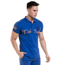 Backlight - Polo blu opaco Uomo Casual Cotone Manica corta