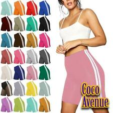 New Ladies Plain Double Side Stripe Gym Fitness Tights Hot Pants Cycling Shorts