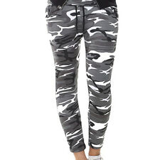 UK Womens High Waist Camouflage Joggers Trousers Ladies Casual Camo Cargo Pants