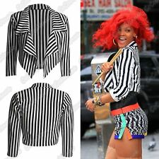 New Ladies Black And White Striped Waterfall Open Front Crop Blazer Jacket Coat