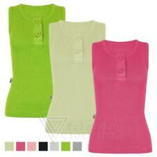 Ladies New 2 Button Ribbed Strap Vest Top Womens Stretch Sleeveless Cami £1 SALE
