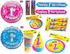 1st First Birthday Party Decorations Candle Tableware Girls Boys Cups Plates