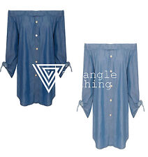 Ladies Shirt Denim Blue Off Shoulder Bardot Top Blouse Sexy Button Ruched Baggy