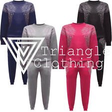 Jessica Wright Inspired Diamanté Stud Angel Wing Lounge Suit Jumper And Joggers