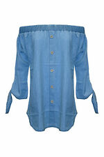 Ladies Off The Shoulder Bardot Denim Look Tie Frill Shirt Dress Top Mock Button
