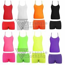 Kids Girls Hotpants and Vest Tops Dance Wear Combo PE Aerobics Microfiber 80s