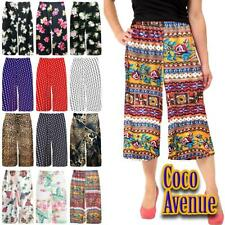 Ladies Floral Printed 3/4 Length Flared Wide Leg Culottes Baggy Short Palazzo