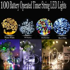 100 LED Battery Operated Timer String Light Multi Functions Waterproof Xmas Gift