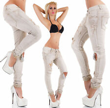 womens Ripped Skinny Jeans Destroyed Look Embroidery Jeans Stretch Material UK