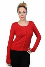 Women's Red Getaway Plain Vintage Retro Rockabilly Cardigan By Banned Apparel