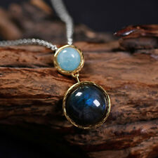 925 Sterling Silver Mysterious Lake Pendant | Labradorite & Moonstone
