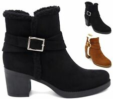 Womens Mid Block Heels Fur Cuff Winter Buckle Ankle Boots Ladies Shoes Size