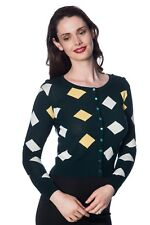 Women's Green 60s Diamond Vintage Retro Rockabilly Cardigan By Banned Apparel