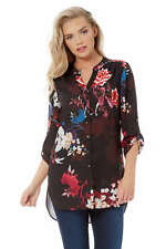Roman Originals Women's Floral 3/4 Sleeve Blouse - Everyday Dressy Occasions