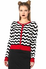 Black White Zigzag Stripes Rock Vintage Rockabilly Retro Cardigan Banned Apparel