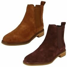 Ladies Clarks Casual Pull On Suede Leather Heeled Ankle Boots Clarkdale Arlo