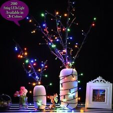 200 Timer Battery Operated Flash LEDs Outdoor Waterproof Decorative String Light