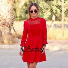 BRAND NEW ZARA WOMAN RED COCKTAIL GUIPURE LACE RED ROT DRESS KLEID REF 2375/775