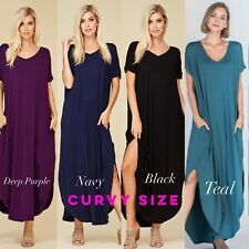 PLUS SIZE Maxi Dress with Pockets Slits Casual Full Length Kaftan Open Back *