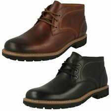 Mens Clarks Rounded Toe Smart Lace Up Leather Heeled Ankle Boots Batcombe Lo