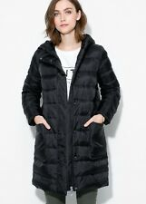 Mango Puffer Feather Down Black Hooded Winter Warm Quilt Parka Coat S 10 38 £110